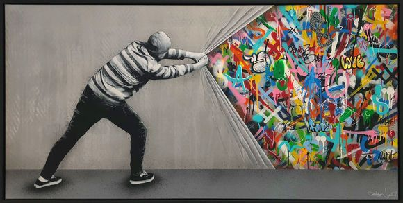 "Martin Whatson ""behind the curtain"" Artwork on canvas"
